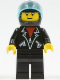 Minifig No: tel002  Name: Leather Jacket with Zippers - Black Legs, Black Helmet, Trans-Light Blue Visor, Male