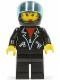 Minifig No: tel003  Name: Leather Jacket with Zippers - Black Legs, Black Helmet, Trans-Light Blue Visor, Female