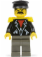 Minifig No: tim001  Name: Time Twisters - Black Leather Jacket with Zippered Pockets over Red Shirt, Yellow Epaulettes (Tony Twister / Baron Blomberg)