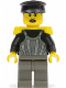 Minifig No: tim002  Name: Time Twisters - Dark Gray Armor with Silver Stripes and Rivets, Yellow Epaulettes (Professor Millennium / Commodore Schmidt)