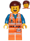 Minifig No: tlm105  Name: Emmet - Wide Smile with Teeth and Tongue / Sad, Worn Uniform