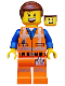 Minifig No: tlm180  Name: Emmet - Lopsided Grin / Confused, Worn Uniform