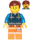 Minifig No: tlm208  Name: Emmet - Lopsided Smile, Eyebrows / Scared, Dark Blue Uniform