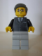 Minifig No: tls081  Name: Lego Brand Store Male, Black Suit, Light Bluish Gray Legs, Dark Bluish Gray Smooth Hair (no specific back printing) {Glasgow}