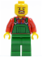 Minifig No: tls082  Name: Lego Brand Store Male, Overalls Farmer Green, Brown Moustache and Goatee, No Headgear (no specific back printing) {Glasgow}