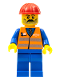 Minifig No: trn001  Name: Orange Vest with Safety Stripes - Blue Legs, Moustache, Red Construction Helmet