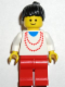 Minifig No: trn003  Name: Necklace Red - Red Legs, Black Ponytail Hair