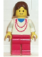 Minifig No: trn008  Name: Necklace Red - Red Legs, Brown Female Hair