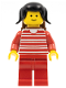 Minifig No: trn009  Name: Horizontal Lines Red - Red Arms - Red Legs, Black Pigtails Hair