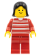 Minifig No: trn010  Name: Horizontal Lines Red - Red Arms - Red Legs, Black Female Hair