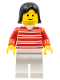 Minifig No: trn011  Name: Horizontal Lines Red - Red Arms - White Legs, Black Female Hair