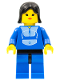Minifig No: trn014  Name: Jogging Suit,  Blue Legs with Black Hips, Black Female Hair