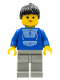 Minifig No: trn015  Name: Jogging Suit, Light Gray Legs, Black Ponytail Hair