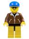 Minifig No: trn020  Name: Jacket Brown - Yellow Legs, Blue Cap