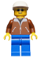 Minifig No: trn022  Name: Jacket Brown - Blue Legs, White Cap