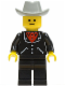 Minifig No: trn023  Name: Suit with 3 Buttons Black - Black Legs, Light Gray Cowboy Hat