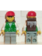 Minifig No: trn029  Name: Jacket Green with 2 Large Pockets - Light Gray Legs, Red Cap and Brown Backpack