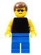 Minifig No: trn034  Name: Plain Black Torso with Yellow Arms, Blue Legs, Sunglasses, Brown Male Hair