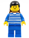 Minifig No: trn038  Name: Horizontal Lines Blue - Blue Arms - Blue Legs, Black Male Hair, Brown Backpack