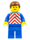 Minifig No: trn047  Name: Red & White Stripes - Blue Legs, Brown Male Hair