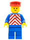 Minifig No: trn050  Name: Red & White Stripes - Blue Legs, Red Hat
