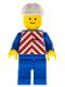 Minifig No: trn051  Name: Red & White Stripes - Blue Legs, White Construction Helmet