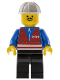 Minifig No: trn053  Name: Red Vest and Zipper - Black Legs, White Construction Helmet