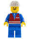 Minifig No: trn054  Name: Red Vest and Zipper - Blue Legs, White Construction Helmet, Moustache