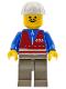 Minifig No: trn055  Name: Red Vest and Zipper - Dark Gray Legs, White Construction Helmet, Moustache