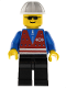 Minifig No: trn056  Name: Red Vest and Zipper - Black Legs, White Construction Helmet, Sunglasses