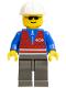 Minifig No: trn058  Name: Red Vest and Zipper - Dark Gray Legs, White Construction Helmet, Sunglasses
