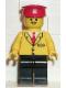 Minifig No: trn060  Name: Railway Employee 5, Black Legs, Red Hat