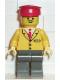 Minifig No: trn061  Name: Railway Employee 5, Dark Gray Legs, Red Hat