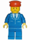 Minifig No: trn068  Name: Suit with 3 Buttons Blue - Blue Legs, Red Hat