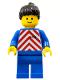 Minifig No: trn071  Name: Red & White Stripes - Blue Legs, Black Ponytail Hair