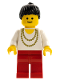 Minifig No: trn077  Name: Necklace Gold - Red Legs, Black Ponytail Hair