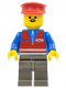 Minifig No: trn080  Name: Red Vest and Zipper - Dark Gray Legs, Red Hat