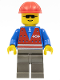 Minifig No: trn081  Name: Red Vest and Zipper - Dark Gray Legs, Red Construction Helmet
