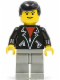 Minifig No: trn085  Name: Leather Jacket with Zippers - Light Gray Legs, Black Male Hair