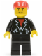 Minifig No: trn086  Name: Leather Jacket with Zippers - Black Legs, Red Cap