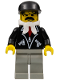 Minifig No: trn087  Name: Leather Jacket with Zippers - Light Gray Legs, Black Cap, Bandana
