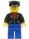 Minifig No: trn088  Name: Suit with 3 Buttons Black - Blue Legs, Black Hat