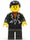 Minifig No: trn090  Name: Leather Jacket with Zippers - Black Legs, Black Male Hair