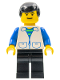 Minifig No: trn094  Name: Suit with 2 Pockets White - Black Legs, Black Male Hair