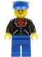 Minifig No: trn097  Name: Suit with 3 Buttons Black - Blue Legs, Blue Hat