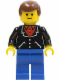 Minifig No: trn101  Name: Suit with 3 Buttons Black - Blue Legs, Brown Male Hair