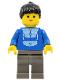 Minifig No: trn103  Name: Jogging Suit, Dark Gray Legs, Black Ponytail Hair