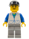 Minifig No: trn104  Name: Suit with 2 Pockets White - Light Gray Legs, Black Cap