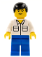 Minifig No: trn105  Name: Shirt with 2 Pockets, Blue Legs, Black Male Hair