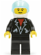 Minifig No: trn108  Name: Leather Jacket with Zippers - Black Legs, White Helmet